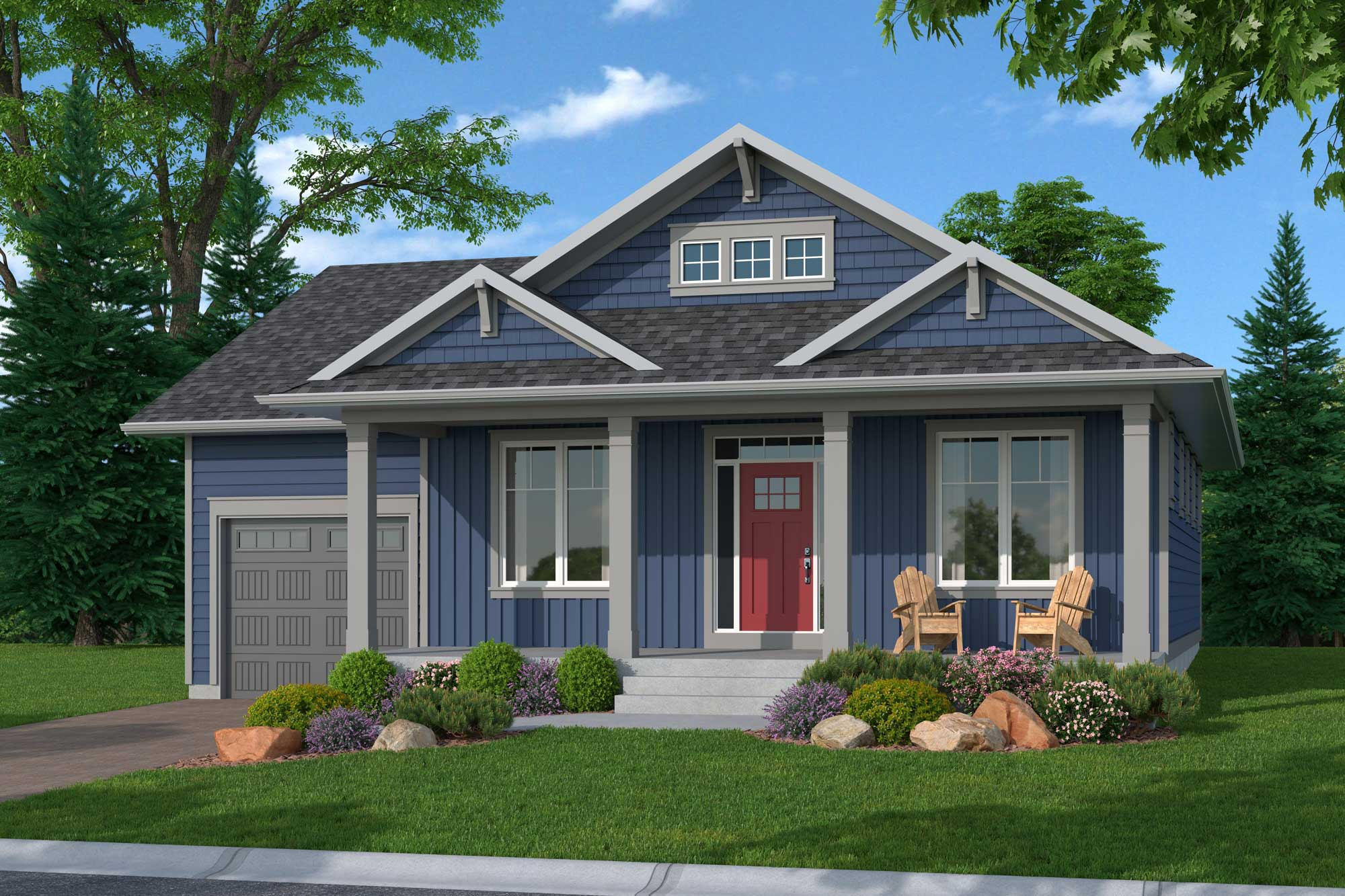 An illustration of the Rideau Bungalow at Watercolour Westport